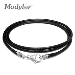 Modyle Black Leather Necklace Elegant Fashion Long Rope Necklace For Men And Women