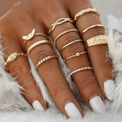 Modyle Charm Gold Color Midi Finger Ring Set For Women Vintage Boho Knuckle Party Rings Punk Jewelry