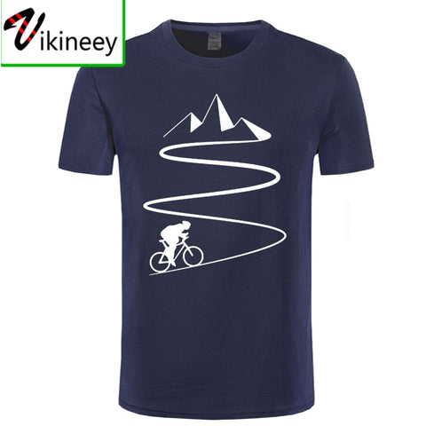 Mountain Bike Heartbeat Funny Biker T Shirt Oversized Custom Short Sleeve Mens Bicycle Cycling T-Shirt Fashion Family Cotton