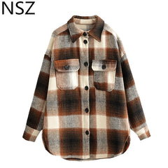 Nsz Women Wool Blends Oversized Plaid Shirt Coat Checked Woolen Overshirt Jacket Ladies Large Size Outerwear