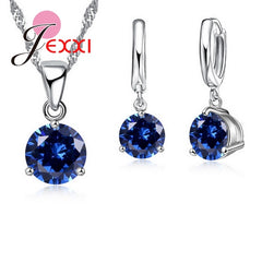 New Crystal Necklaces Set 8 Colors 925 Sterling Silver Pendants Stud Earring Sets Women Cubic Zircon Jewelry