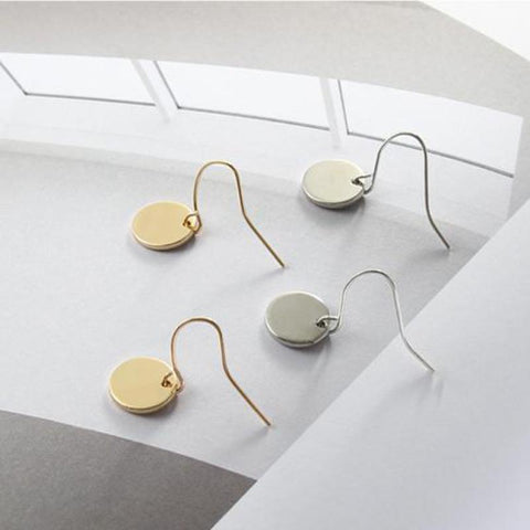 New Fashion Personality Minimalist Geometric Metal Mini-Disc Earrings, Round Earrings Jewelry Wholesale And Retail Women'S Gifts
