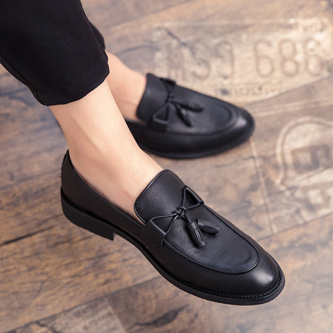 New Men Tassel Loafers Leather Formal Shoes Elegant Dress Shoe Simple Slip On Man Casual Footwear Large Size 47 Zapatos Hombre