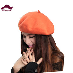 New Winter Women Hat Vintage Berets Wool 32Colors Caps Pillbox Hat Gorras Planas Hombre Hats Beret Boinas Mujer Wool Beanie Hats
