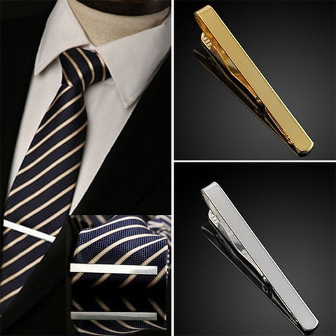 Practical Solid Color Gold Silver Chic Men Male Tie Clip Simple Style Alloy Bar Clasp Necktie Clasp Cc7713