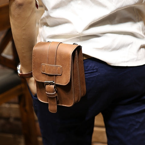 Retro Crazy Horse PU Leather Mens Waist Bag Travel Fanny Pack Belt Loops Hip Bum Bag Wallet Purses Phone Pouch
