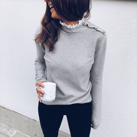 Ruffles Sexy Lace Patchwork Women Sweater Fashion O-Neck Long Sleeve Autumn Pullovers Casual Winter Sweater Gray White Top Femme