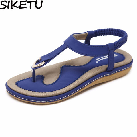 Siketu Summer Shoes Women Bohemia Ethnic Flip Flops Soft Flat Sandals Woman Casual Comfortable Plus Size Wedge Sandals 35-45