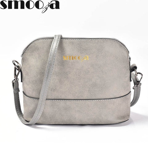 Smooza New Fashion Women'S Messenger Bag Scrub Shell Bag Nubuck Leather Small Crossbody Bags Over The Shoulder Womens Handbag