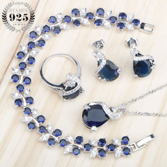 Sliver 925 Costume Jewelry Sets For Women Bracelets/Necklace/Pendant/Stud Earrings/Rings Wedding Set With Blue Stones Free Box