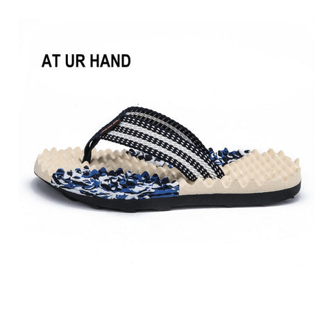Summer Beach Slippers Men Shoes Flip Flops Patchwork Eva Stripe Outside Massage Slipper Male Soft Leisure Style Non-Slip Shoes