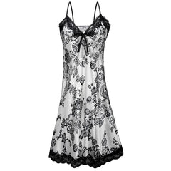 Summer Satin Silk Lace Sleeping Dress Nightgown Women Spaghetti Strap Night Dress Pijama Slits Printed Mini Dresses