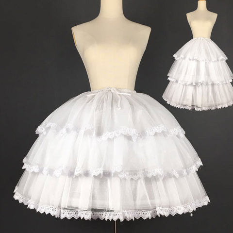 Sweet Short Convertible Rockability Petticoat Lace Trimmed A Line/Ball Gown Lolita Pettiskirt