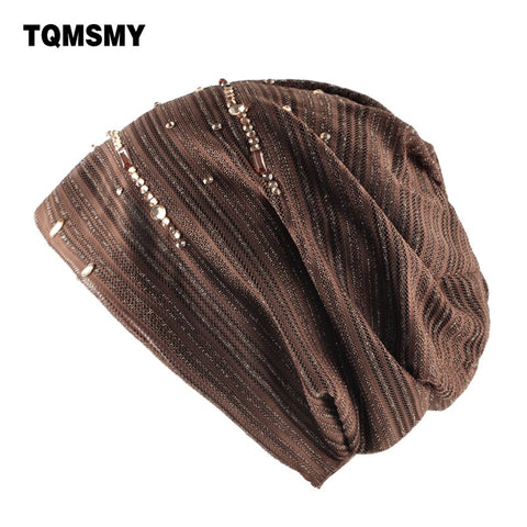 Tqmsmy Double Layer Hats For Women'S Beanies Spring Girls Turban Lace Diamonds Cap Autumn Women Casual Beanie Bone Ladies Gorros