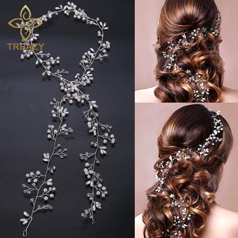 Treazy Charm Floral Headbands Pearl Crystal Beads Long Bridal Hairbands Headdress Wedding Hair Accessories Bride Tiara Headpiece