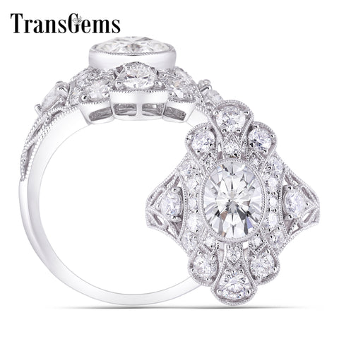 Transgems 14K 585 White Gold Center 7*9Mm 2Ct Oval Gh Color Moissanite Engagement Rings With Accents For Women Anniversary Gifts