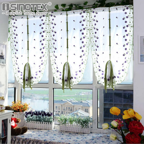 Tulle Voile Roman Curtains Embroidery Flower Window Curtain Living Room Decoration Rideaux Pour Le Salon Decor 1 Pcs Only