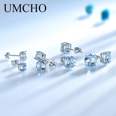 Umcho Real 925 Sterling Silver Jewelry Created Russian Sky Blue Topaz Stud Earrings Elegant Anniversary For Women Birthday Gifts