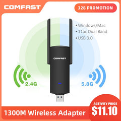 Usb Wifi Adapter 1300Mbps Rtl8812Bu Dual Band  For Pc Black Ethernet Wifi Dongle External Antenna  Wi Fi Receiver Network Card