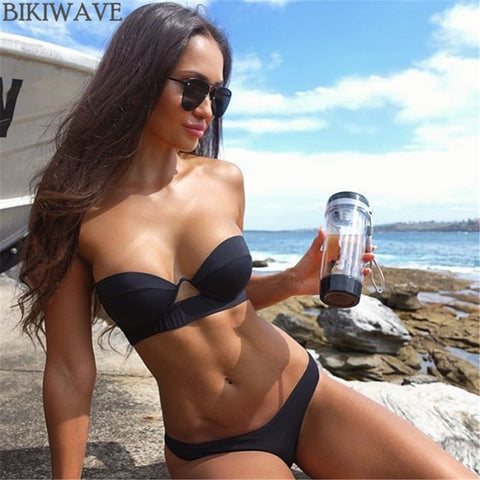 Underwire Strapless Black Bikini 2019 Mujer Sexy Push Up Swimsuit Women'S Separate Beach Wear Female Bathing Suit Swimwear Women