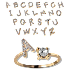 Unisex Gold Color A-Z 26 Letters Initial Name Rings Geometric Alloy Wiht Rhinestone Open Cuff Finger Rings Engagement Jewelry
