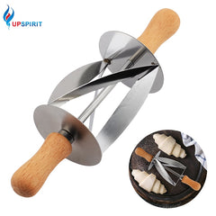 Upspirit Stainless Steel Rolling Cutter For Making Croissant Bread Wheel Dough Pastry Knife Wooden Handle Baking Kitchen Knife