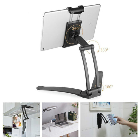 Wall Hanging Tablet Stand Desktop Kitchen Use Multi-Function Bracket Aluminum Alloy 3M Tablet Holder Mount For Ipad Iphone