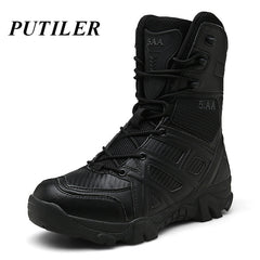 Winter Military Tactical Boots For Men Leather Outdoors Round Toe Sneakers Men Combat Desert High Ankle Boots Black Casual Shoes