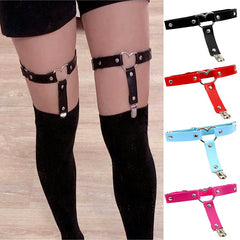 Women Punk Heart Sexy Pu Leather Garter Belt Harajuku Elasticity Body Harness Tight Suspender Strap Leg Harness Bondage Belts