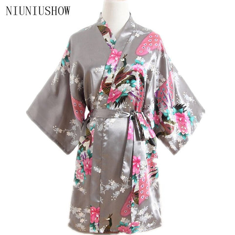 Women Satin Short Nightgown Kimono Robe New Gray Bathrobe Floral Pajamas Wedding Bride Bridesmaid Sexy Dress Gown One Size
