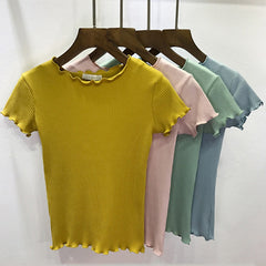 Women Tees Ruffled Trimmings Ribbed Crop Tops Soft And Stretchy Short Sleeve T-Shirts Basic Cropped Top Camiseta