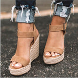 Women'S Sandals Summer New Sandals Women'S Large Size Spot Wedge Buckle Belt European  American Open Toe High Heel Women'S Shoes