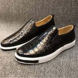 Xhpj  Spot Supply Authentic Crocodile Belly Men Casual Shoes Leather Fashion A Foot Pedal Lazy Shoes Men Shose