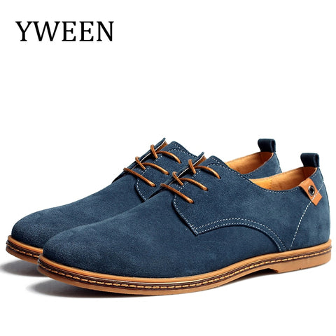 Yween Top Fashion Men Casual Shoes Autumn Winter Nubuck Leather Flock Promotion Oxford Derby Shoes Large Size