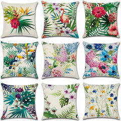 Ywzn Tropical Plants Decorative Pillowcases Flamingo Cotton Linen Throw Pillow Case Flowers Pillow Cover Kussensloop Almohada
