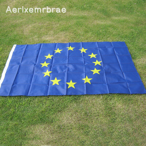 Aerlxemrbrae Flag Large European Union Eu Flag 90*150Cm Euro Flag Of Europe Super-Polyester Emblem Of The Council Of Europe