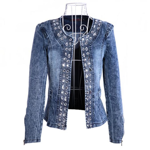 casaco feminino Fashion Women Diamonds Denim Jacket coat Ladies jacket Tops Slim Jeans casaco Top plus size blazer feminino 4XL