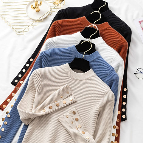 Casual Autumn Winter Women Thick Sweater Pullovers Long Sleeve Button O-Neck Chic Sweater Female Slim Knit Top Soft Jumper Tops