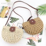 New Hollow Round Ditch Straw Bag Women Leather Shoulder Strap Messenger Bags Ladies Crossbody Bag Summer Bolsa Feminina