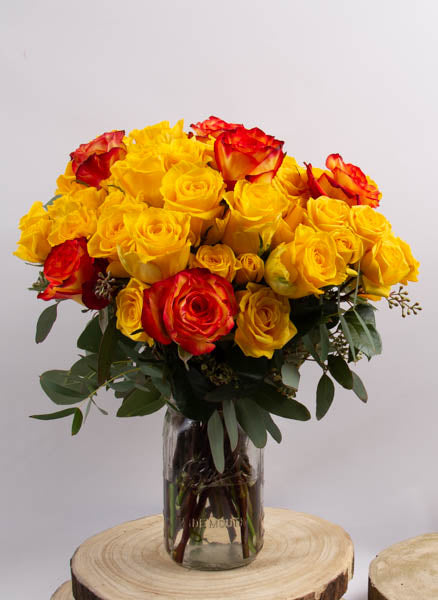 A Dozen Orange and Yellow Roses