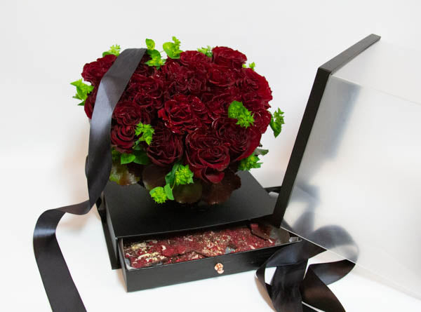 Black Surprise Box with Drawer - Red Roses