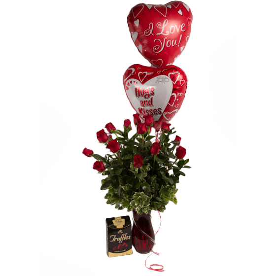 Chocolates & Two Balloons - Upgrade - flowersbypouparina.com