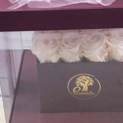Square transparent box - Eternity Roses - flowersbypouparina.com