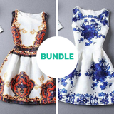 Graceful Fire & Blue Flower Vestido Dress Bundle - LovelyMojo