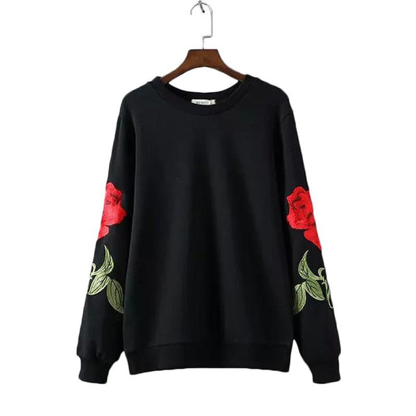 Embroidery Floral Black Sweatshirt - LovelyMojo
