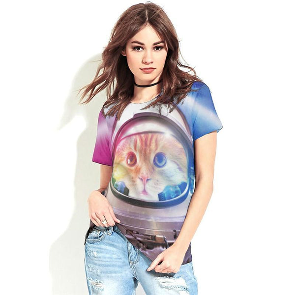 """Outter Space Cat"" T-Shirt - LovelyMojo"