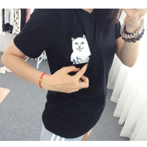 """Middle Finger Cat"" T-Shirt - LovelyMojo"