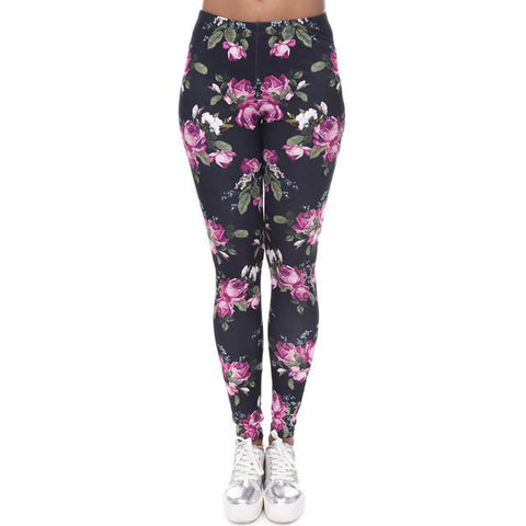 """Rose Print"" Leggings - LovelyMojo"
