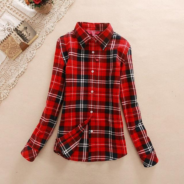 Women's Dark Red Plaid Shirt - LovelyMojo