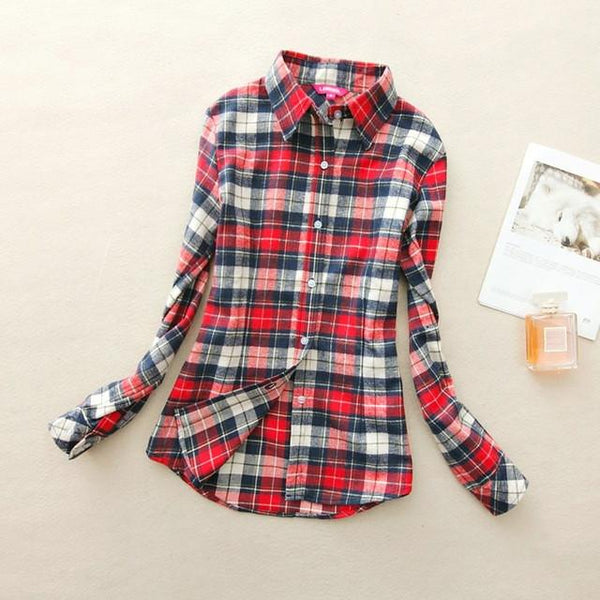 Women's Light Red Plaid Shirt - LovelyMojo